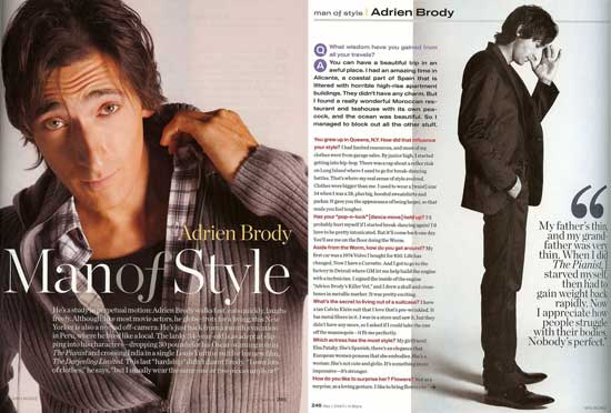 Adrien Brody InStyle Magazine
