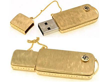 Handmade 14K Gold USB Set with Diamonds