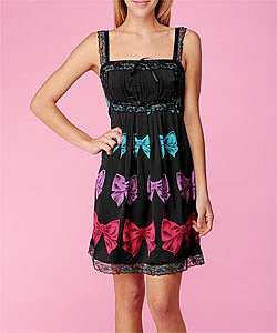 Bows on Charmeuse Tunic/Mini-Dress - Betsey Johnson