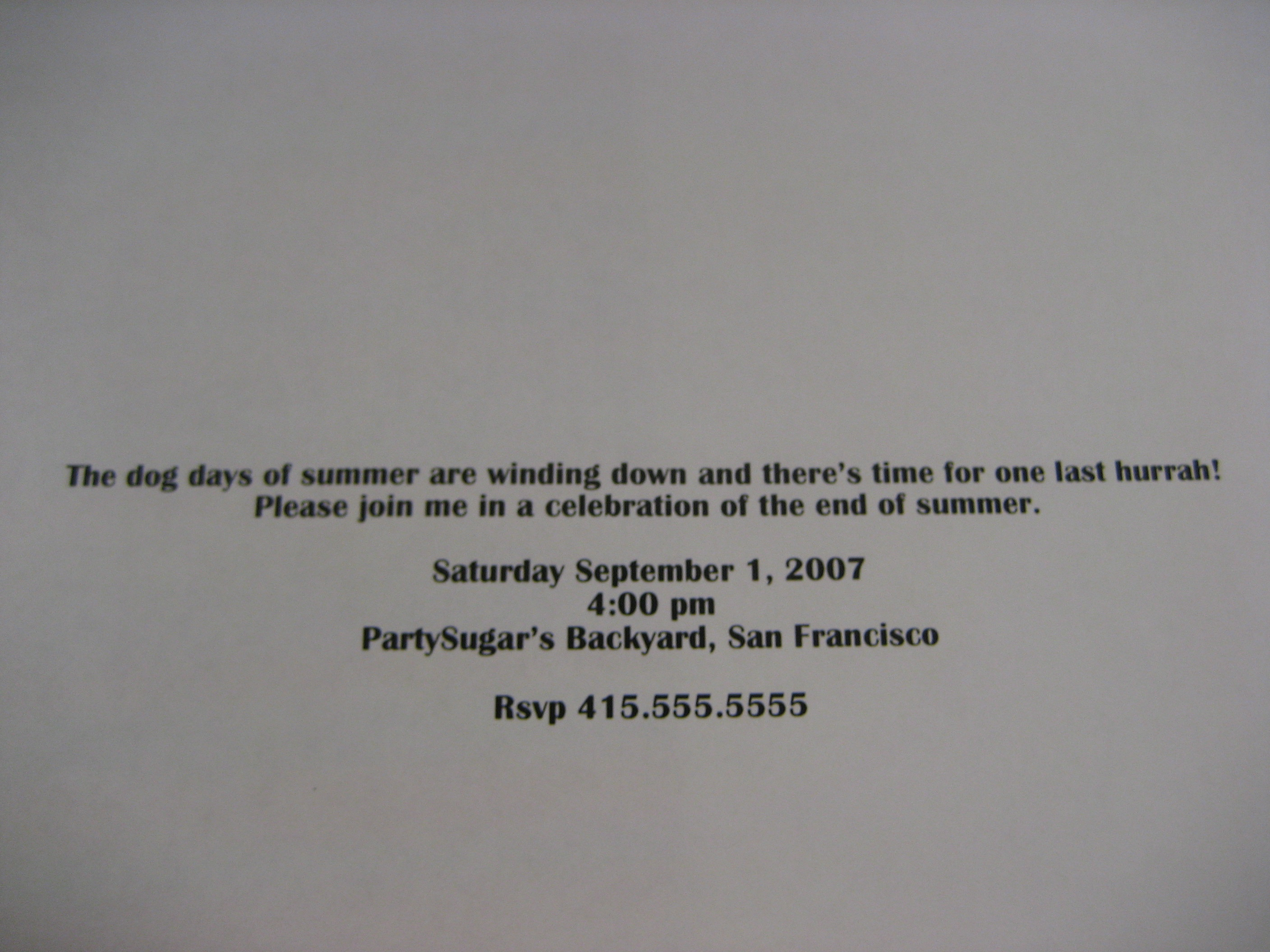 Come Party With Me: End Of Summer BBQ - Invites