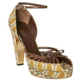 TROPICAL PRINTS: Gucci 'Tropical Pigna' canvas platform sandals