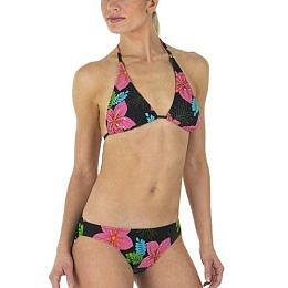 TROPICAL PRINT: Xhilaration� Beaded Hibiscus Swimwear - Black