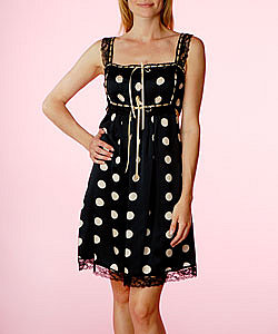 Polka Dot Charmeuse Tunic w/ Lace - Betsey Johnson Official Store