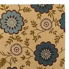 Teal Floral Block Print Micro Jute Rug at World Market