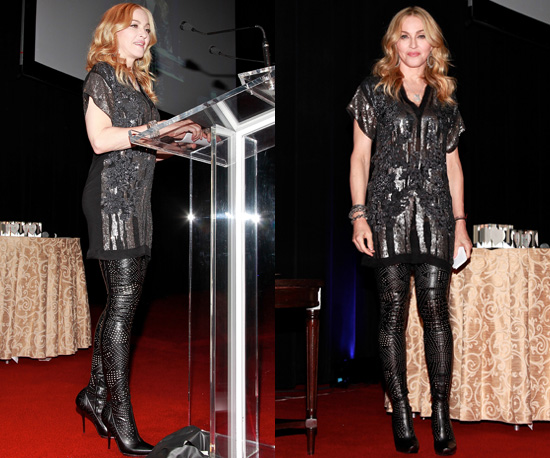 photo of madonna in over the knee boots at 5th annual fashion delivers gala popsugar fashion uk. Black Bedroom Furniture Sets. Home Design Ideas