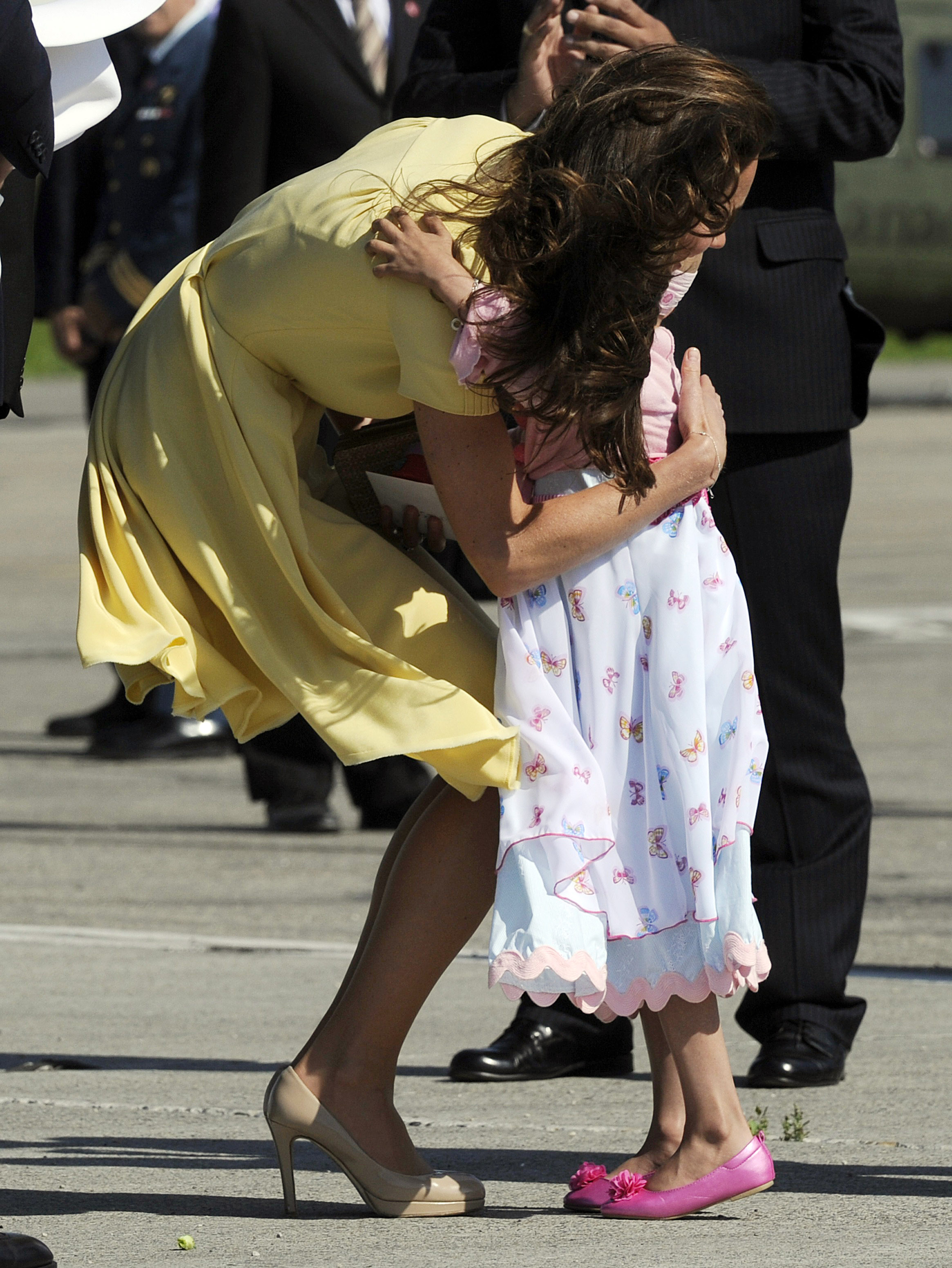 Kate Middleton hugged the 6-year-old upon her arrival in Calgary.