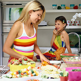 Moms cooking for healthy eating habits