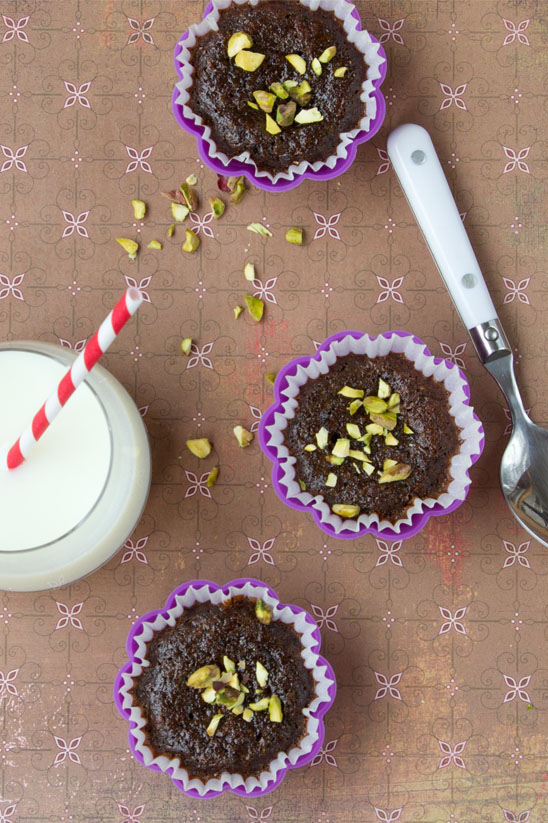 Chocolate Zucchini Muffins with Honey and Pistachio's