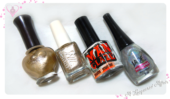 Etude House Lucid Darling Sparkling 01, Estessimo TiNS 033 The Spicy Pinwheel, ManGlaze Matte Is Murder, Jade Psicodelica