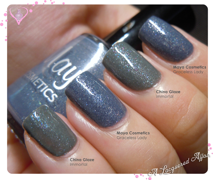 Maya Cosmetics Graceless Lady vs China Glaze Immortal