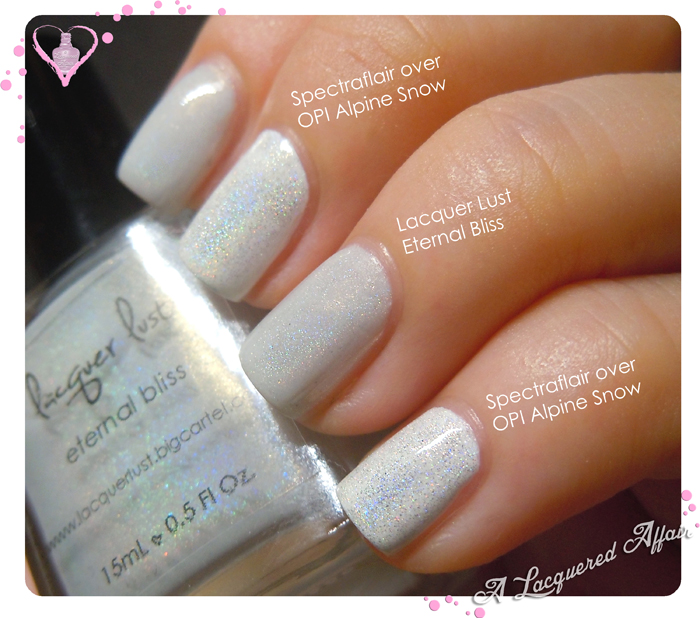 Lacquer Lust Eternal Bliss vs Spectraflair over Alpine Snow