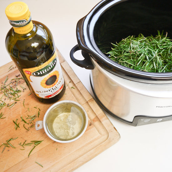 PopsugarLivingSummerHow to Make Rosemary OilGood Stuff: Homemade Rosemary Infused OilJuly 9, 2013 by Sarah Lipoff9.5K SharesChat with us on Facebook Messenger. Learn what's trending across POPSUGAR.Rosemary is a hearty plant, and when it takes hold, it produces a bountiful crop of fragrant branches. If you find yourself with more than you know what to do with this Summer, then try making homemade infused oil that can be used for scenting your home or for a relaxing bath. This easy DIY costs basically nothing to make with results perfect for giving as a gift or using when making eco-friendly cleaning supplies.Read on for the directions.What You'll Need:1 cup rosemary2 cups oilSlow cookerStrainerBowlSmall sealable glass containerDirections:Start by removing the rosemary leaves from the stem, and measure one cup to use for making the infused oil.You can use any type of oil, but a high-temperature low-scent oil is best, such as sunflower or safflower oil. The oil acts as a carrier to the rosemary, creating the fr - 웹