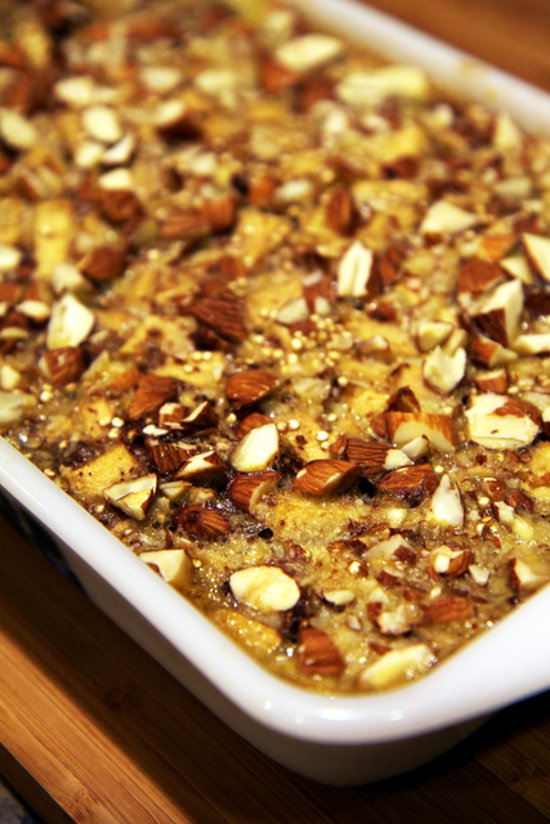 of this gluten-free quinoa bake featuring soft, cinnamon-spiced apples ...