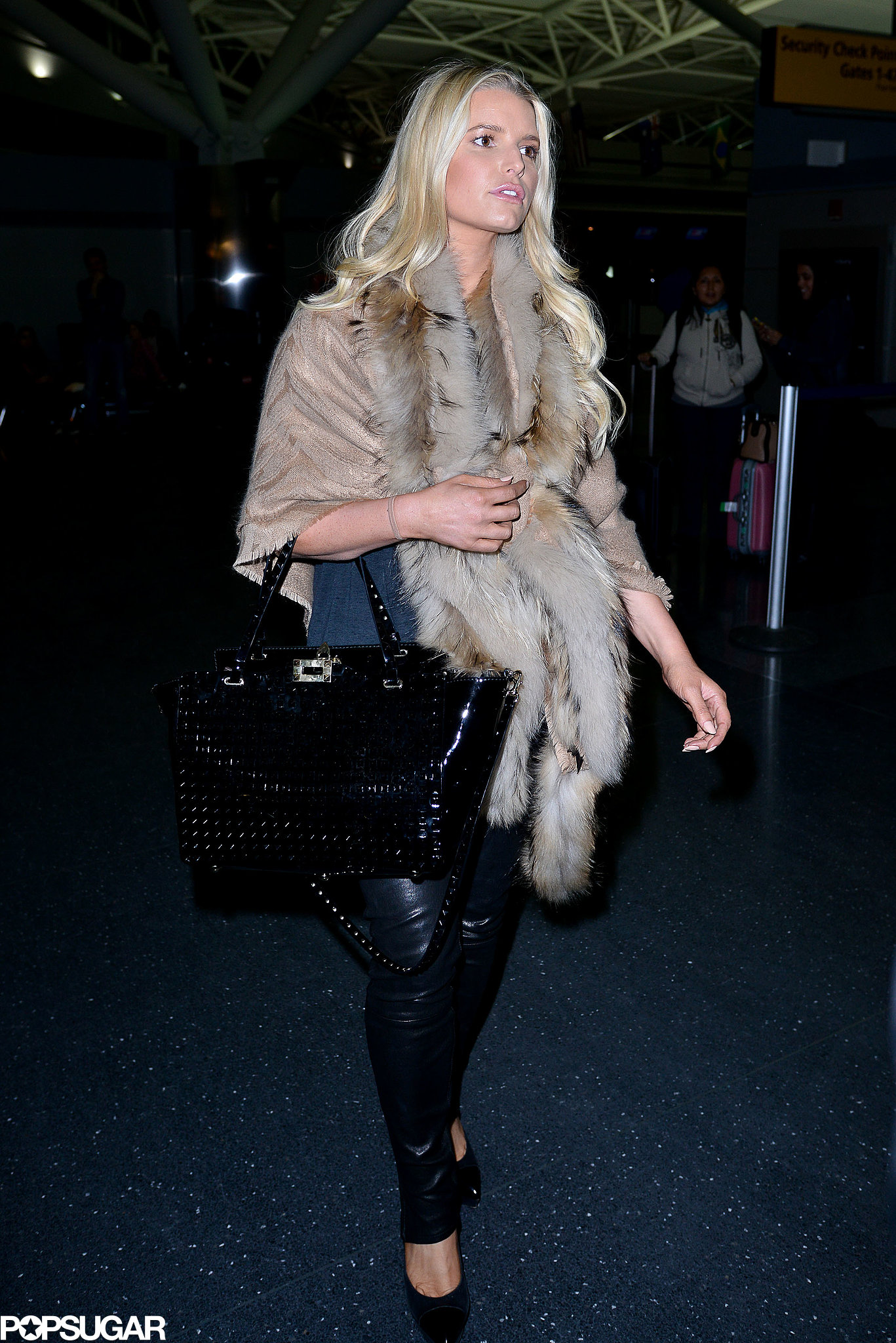 Jessica Simpson Wearing Leather Pants At Jfk Popsugar