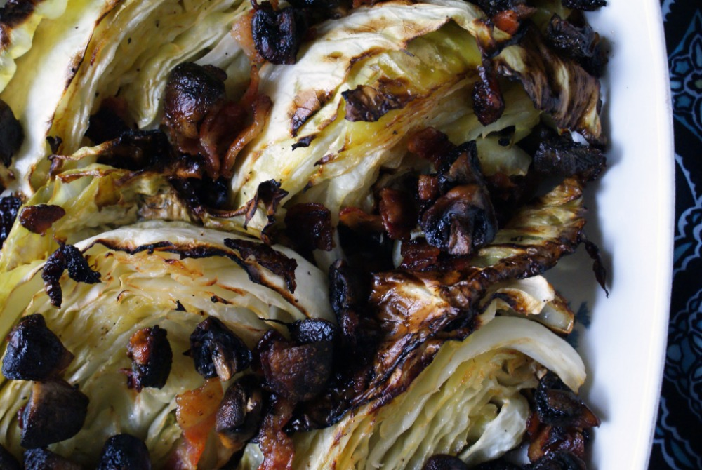 Roasted Cabbage with Mushrooms and Bacon