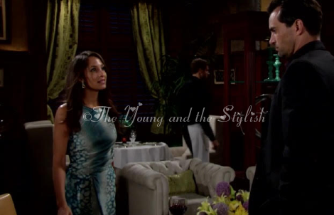 lily winters ashby blue and black snakeskin dress the young and the restless