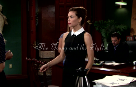 victoria newman sleeveless collar stripe dress the young and the restless