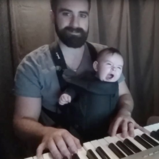 Bearded Dad Puts Baby to Sleep by Playing Lullaby on Piano