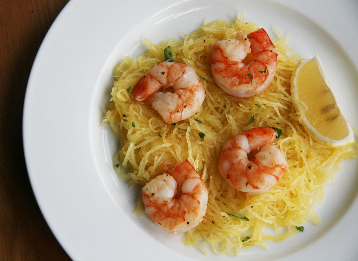 Shrimp and spaghetti squash recipe popsugar fitness for Prawn and spaghetti recipe