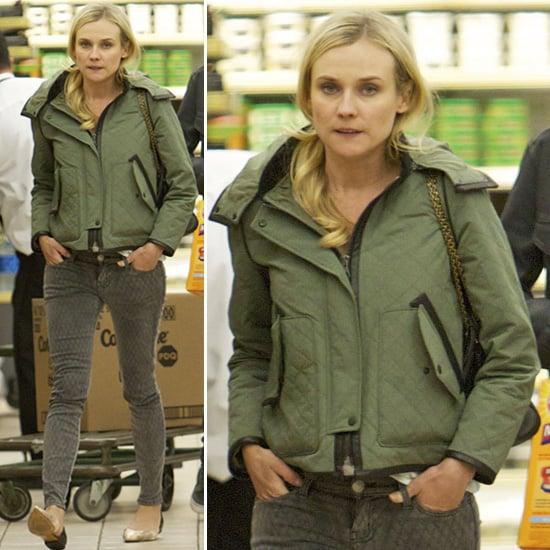 Diane Kruger Wearing Army Green Jacket