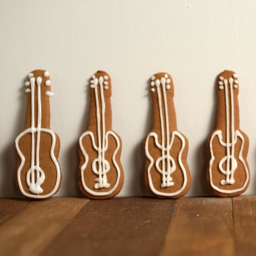 Gingerbread Guitar Cookies