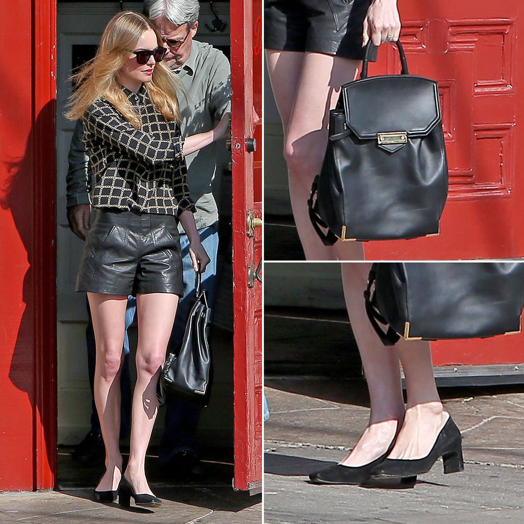 Kate Bosworth's Leather Shorts Street Style | POPSUGAR Fashion
