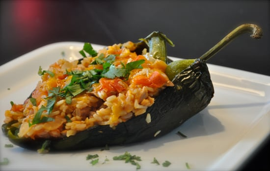 Chicken and Rice Stuffed poblano pepper