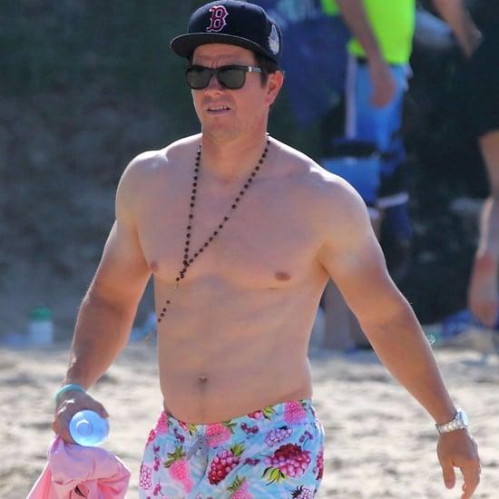Mark Wahlberg With a Farmer's Tan on the Beach December 2015
