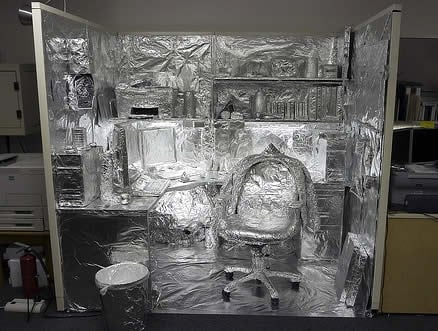 Foil covered office of the future.