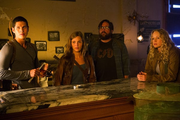 JD Pardo as Nate, Tracy Spiridakos as Charlie, Zak Orth as Aaron, and Anna Lise Phillips as Maggie on Revolution.</p> <p>Photo courtesy of NBC