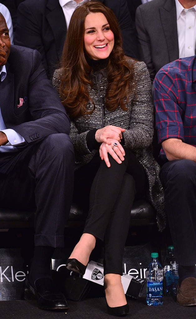 Kate Middleton wearing J.Crew jeans at the Brooklyn Nets game in 2014.