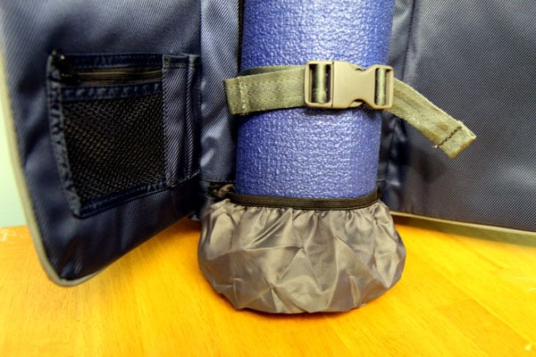 Inside of backpack, showing elastic mat protector