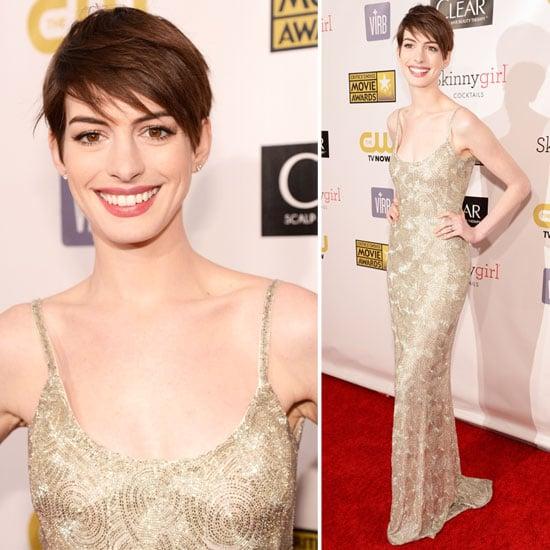 Anne Hathaway Oscar Award: Anne Hathaway Oscar De La Renta 2013 Critics' Choice