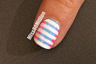 Pink & Blue Stripes - Back to School Nail Art