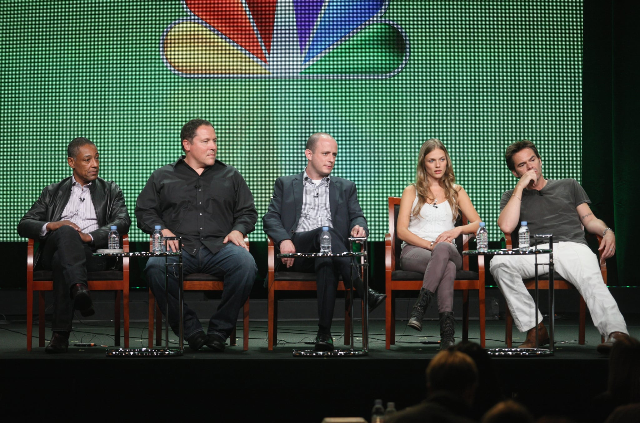Giancarlo Esposito, executive producers Jon Favreau, Eric Kripke and actors Tracy Spiridakos and Billy Burke spoke at the 2012 Summer TCA panel for Revolution.