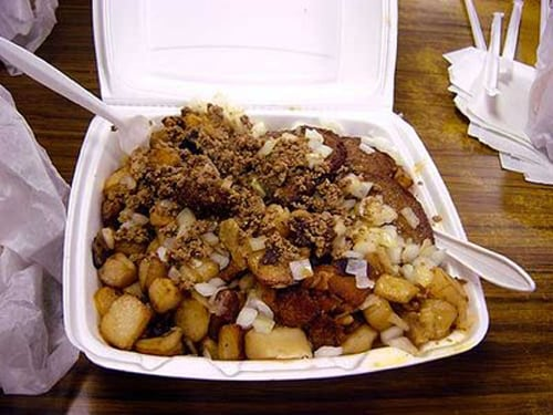 The Garbage Plate: A combination of either cheeseburger, hamburger, Italian sausages, steak, chicken, white or red hots, a grill