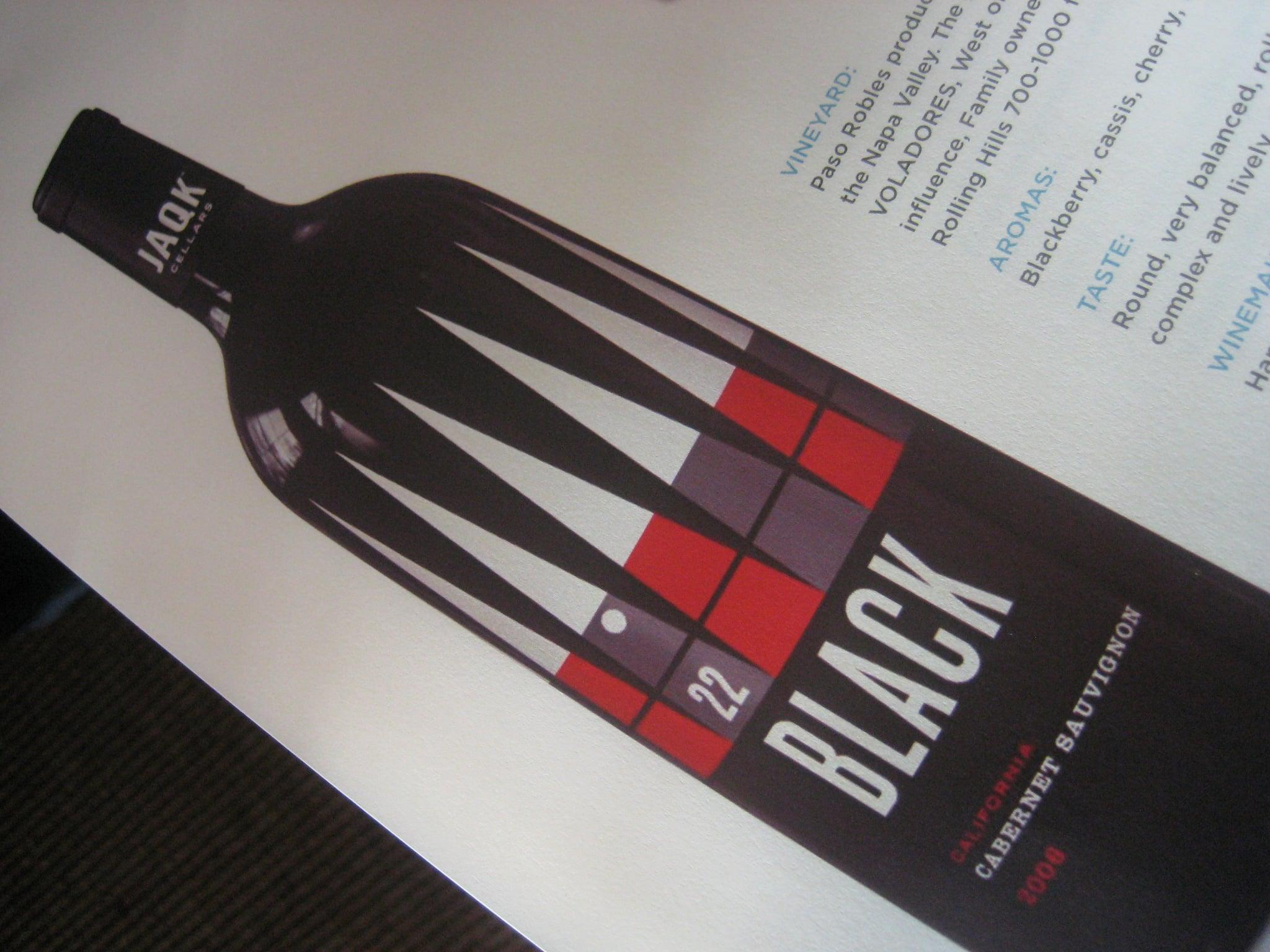 A description of 22 Black, the label's low-end Cabernet Sauvignon.