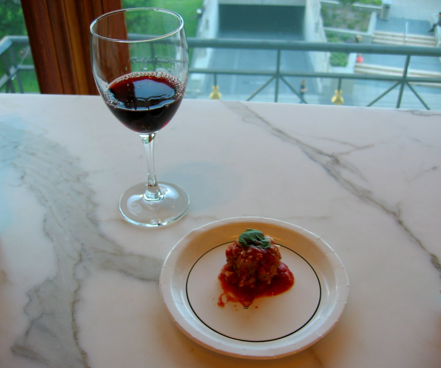 The meatballs were paired with aglianico, an earthy, spicy red popular in Campania, Italy.