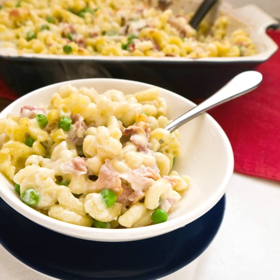Mac And Cheese With Pesto, Proscuitto, And Peas Recipe — Dishmaps