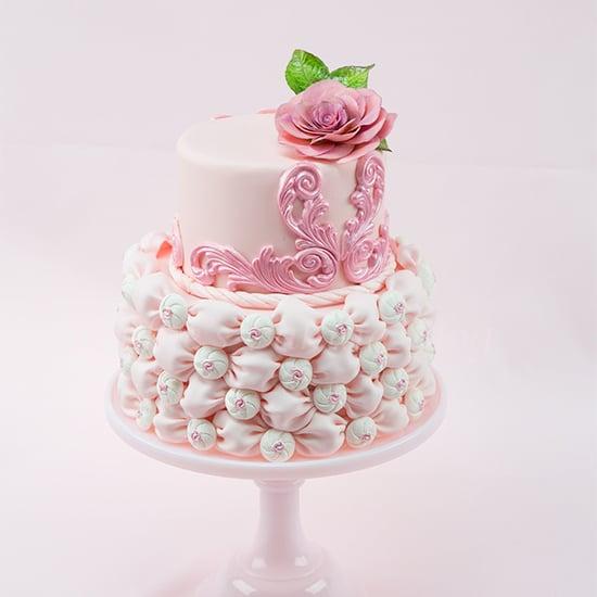 fabric fondant wedding cake