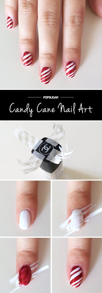 Candy Cane Nail Art Tutorial Popsugar Beauty