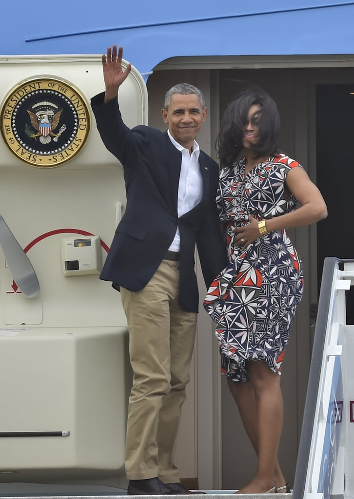 Michelle Obama wearing a Tory Burch dress to board Air Force One after the family's trip to Cuba in 2016.